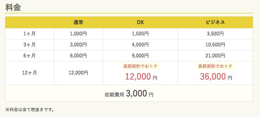 プランが月額1000円(税抜)